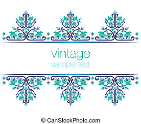 blue ornate vintage frames