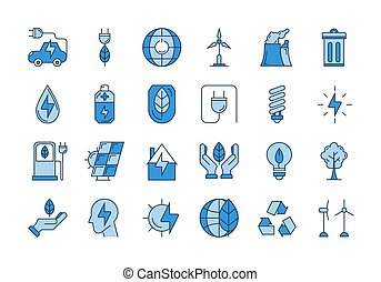 Blue outline ECO icons