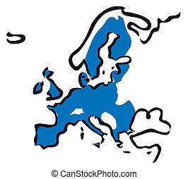 blue outline of European Union map