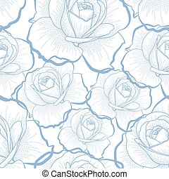 Blue outline roses on white seamless pattern