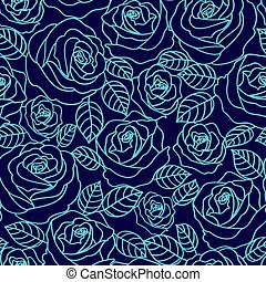 Blue outline roses vector seamless pattern