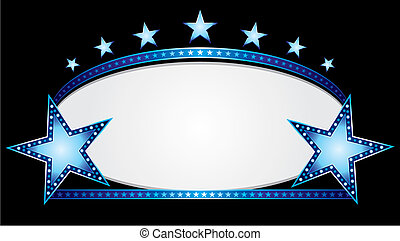 Shiny neon stars over blue oval banner