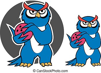 Blue owl character with bowling ball