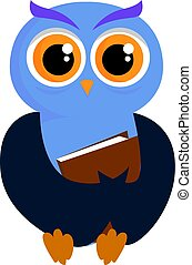 Blue owl with book, illustration, vector on white background.