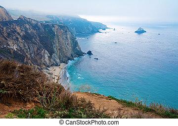 Blue Pacific Ocean California shire line amazing view.