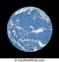 Pacific ocean - Blue Pacific ocean planet Earth with clouds ...