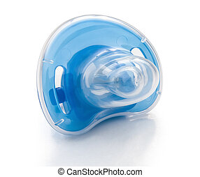 blue pacifier and cover with clipping path