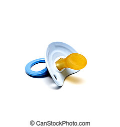 Blue pacifier for baby on white background