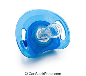 blue pacifier isolated on white with clipping path