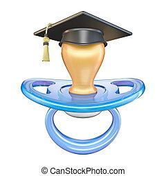 Blue pacifier with graduation cap 3D