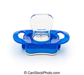blue pacifiers isolated on white with clipping path