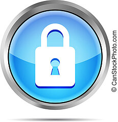 blue padlock icon on a white