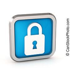 blue padlock icon on a white background