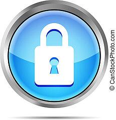 blue padlock icon on a white