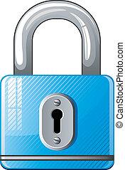 Blue Padlock icon over white, EPS 8, AI, JPEG