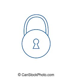 blue padlock outline icon