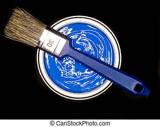 Blue Paint can ans brush