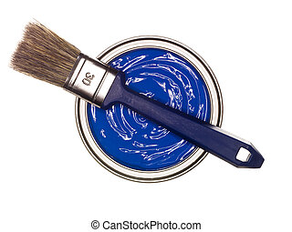 Blue Paint can with brush