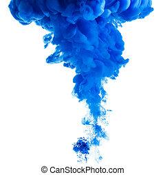 Blue paint cloud in water