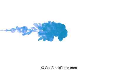 blue paint dissolved in water on a white background. 3d...