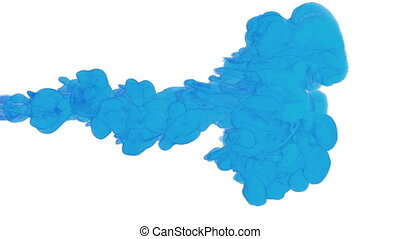 blue paint dissolved in water on a white background. 3d render. voxel graphics. computer simulation 7. full HD