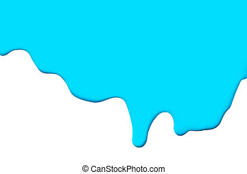 Blue paint drip isolate on white background