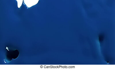 blue paint fills up screen, isolated on white FULL HD with alpha channel