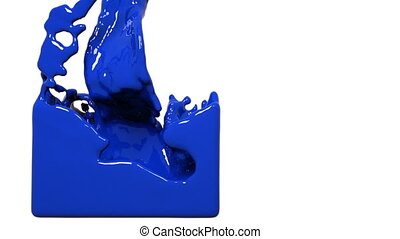 blue paint flow fills up a container slowly - close-up view...