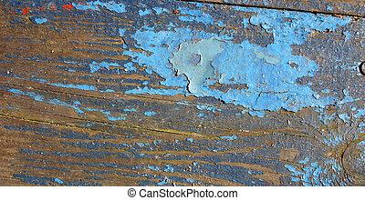 Blue paint on wood