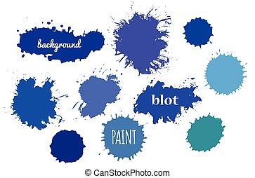 Blue Paint Splash. Vector set of Brush Strokes