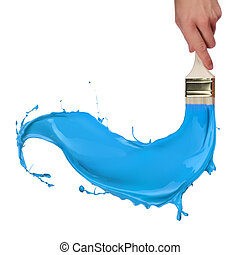 Blue paint splashing out of brush. Isolated on white background