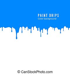 Blue paint splatter. Horizontal drips seamless decoration texture. Vector illustration