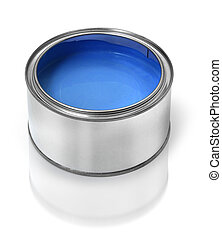 Blue paint tin can