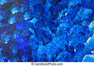 Blue painted canvas - Painted canvas abstract in blue.