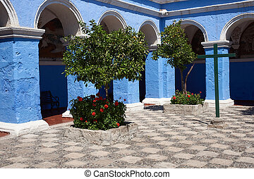 Monasterio de Santa Catalina - Blue painted cloisters of the...