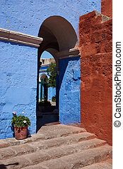 Monasterio de Santa Catalina - Blue painted walls mark the ...