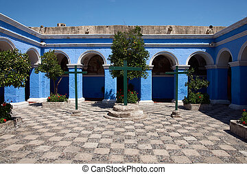 Monasterio de Santa Catalina - Blue painted walls of the ...