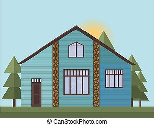 Blue painted Wooden house facade in the forrest. Vector illustration sunset background