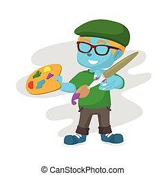blue painter boy illustration