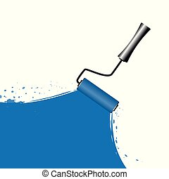 blue painting with roller on white background