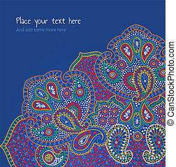 blue paisley floral invitation card