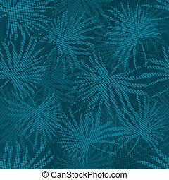 Blue palm tree branches on abstract background. Vector illustration.