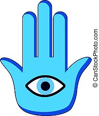 Blue palm with eye icon, cartoon style