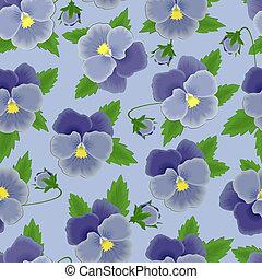 Blue pansies seamless background