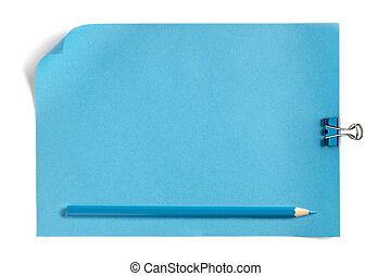 blue paper and pencil with paper clip