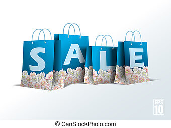 Blue paper bag with cherry blossom. Vector