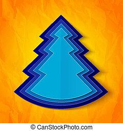 Blue paper christmas tree on orange background