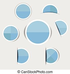 Blue paper circle stickers with shadows