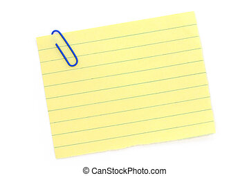 blue paper clip and notepaper with white background
