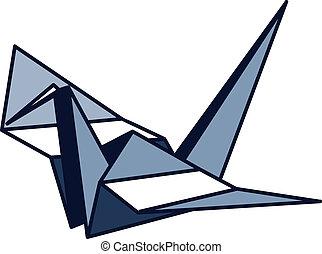 Blue Paper Crane Icon